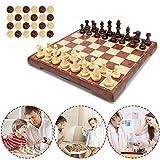 Muscccm Juego de Ajedrez, Tablero de ajedrez 2 en 1 Magnético de Viaje con Portátil de Tablero Plegable para Niños y Adultos(32*32cm)