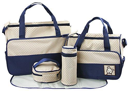 Preisvergleich Produktbild 5er-Set Babytasch, Baby Set Wickeltasche, Mama Windeltasche, 4tlg Pflegetasche, Mutter Handtasche Umhängetasche Flaschenhalter