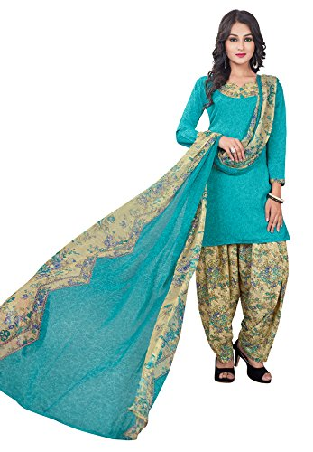 Salwar Studio Women's Blue & Beige Synthetic Floral Printed Dress Material with Dupatta  available at amazon for Rs.495