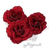 myPartytrends 3er Set / 3 Stück Elegante Haarrosen mit Samtüberzug in rot (Ø 11 cm; Höhe 4 cm) (Samtrose, Samtblüte, Samtblume, rote Ansteckrose, Haarblume)