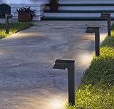 6er Set Solar LED Wegeleuchte Gartenleuchte Modern mit Nachtsensor für Außen - 10 Stunden Brenndauer - 10 x 5,5 x 38 cm - Schwarz - IP67 Wasserdicht - Aussenstehleuchte