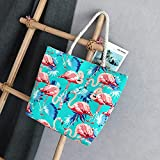 BSTLY Bolso De Mochila Bolso De Lona Femenino Bolso De Hombro De Cuerda Gruesa Moda Simple Impreso Bolso De Playa Portátil Lago Azul