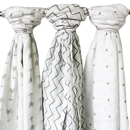 Baby Muslins for Boys and Girls - 3 Pack, Unisex, Large 120 x 120 cm - Ziggy Baby 100% Cotton Muslin Squares, Swaddle Blanket Wraps in Chevron, Cross & Arrow for Babies Infants Toddlers Newborns