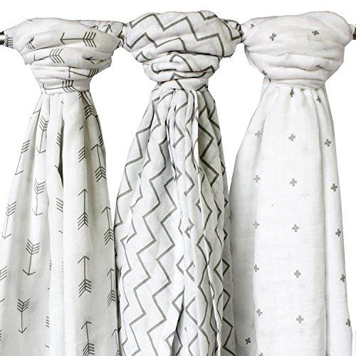 MULLTÜCHER für Jungs + Mädchen aus 100% Baumwolle von Ziggy Baby - 3er Pack - vielseitig einsetzbar z.B als Einschlag- und Kuscheldecken, Still- und Wickeltücher… - weiß und grau - 120 x 120 cm groß