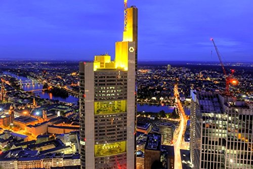 Acrylglasbild Hady Khandani - HDR - FRANKFURT VIEW WITH COMMERZBANK TOWER - GERMANY 3 - 90 x 60cm - Premiumqualität - HADYPHOTO, Fotografie - MADE IN GERMANY - ART-GALERIE-SHOPde