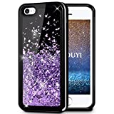 KOUYI iPhone 5/5S/SE Hülle Glitzer, Luxus Fließen Flüssig Glitzer Mode 3D Bling Dynamisch Silikon Flexible TPU Kreativ Shiny Glitter Cover Beschützer für Apple iPhone 5 / iPhone 5S / iPhone SE (Lila)