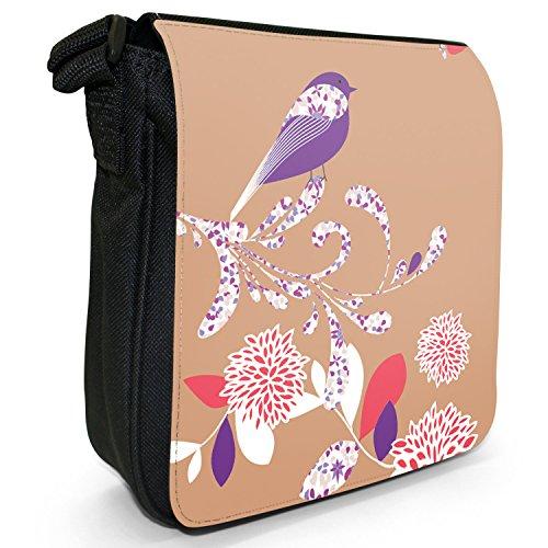 Elegante, motivo: uccellino e fiori Piccola borsa a tracolla in tela, colore: nero, taglia: S Camel Brown