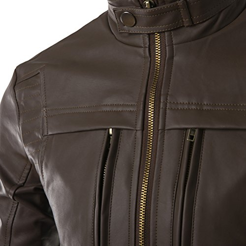 Brinny Hommes Veste en faux cuir Biker Stye Slim Fit Blouson Brun