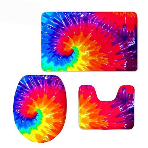 Anti-vortex-cover (Qian Mu888 Colorful Vortex 3 Piece Bathroom Rug Set, Bath Rug Contour Mat with Lid Cover)