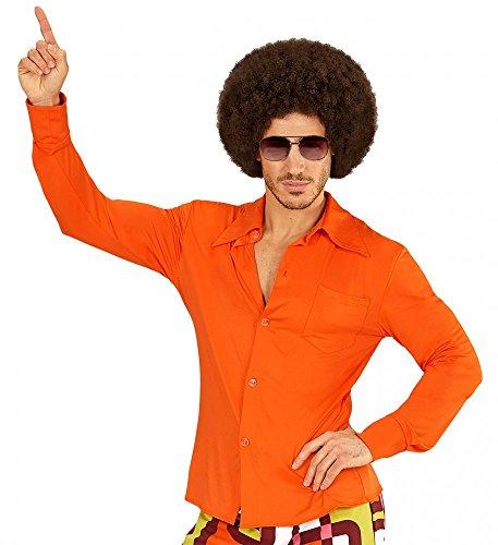 70er Jahre Retro Hemd mit und ohne Muster Disco Herren Kostüm Siebziger Schlager, Größe:XXL;Farbe:Orange