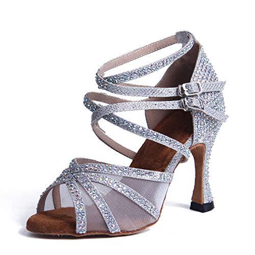 Syrads Zapatos de Baile Latino con pedrería para Mujer Salsa Tango Moderna Bachata Zapatos de Baile...