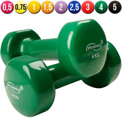 Physionics® hsta25–8–Set di 2manubri in Vinile–2x 4kg–Verde Scuro