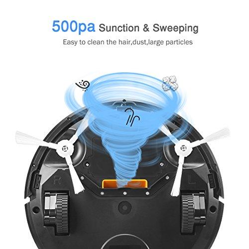 Aspirateur Robot KK290A Eyugle 500pa Aspiration Puissante Capteur Intelligent Anti-collision Anti-chute Trois modes de nettoyage (Noir)