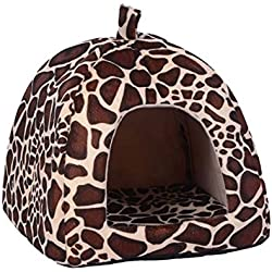 Casa iglú para mascotas con diseño de leopardo.