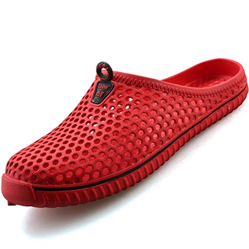 katliu Breathable Hausschuhe Clogs Pantoletten Sandalen Slippers Antirutsch Gartenschuhe Badeschuhe Strandschuhe Sommer Schuhe Damen Herren, Rot 37