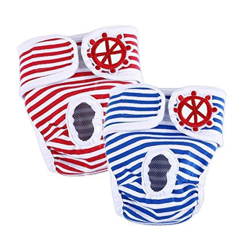 LESYPET 2er Pack Einstellbare und waschbare Hundewindeln Hund Hygieneunterhose mit Magictape Werke für kleine bis mittlere Hündchen - L