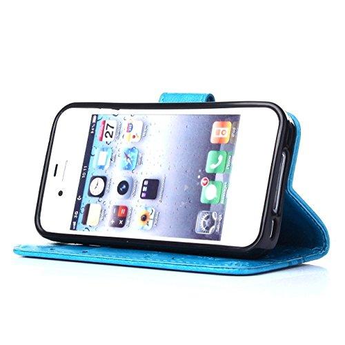 """ARTLU® iPhone 6S Bookstyle Étui Fleur Housse en Cuir Case à rabat pour iPhone 6 Plus / 6S 4.7"""" Coque de protection Portefeuille TPU Case Brun M2"""
