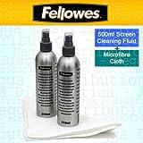 Fellowes - Limpiador de pantalla y superficie de microfibra para TV, portátil, tableta, monitor, eReader (500 ml), antiestático, sin manchas, para smartphones, teclados y otros dispositivos