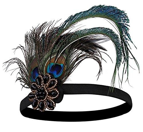 Inspiriertes Kostüm Jahre 20er - BABEYOND Damen 1920s Stirnband Pfau Feder 20er Jahre Stil Flapper Haarband Inspiriert von Great Gatsby Damen Kostüm Accessoires (Stil 3)