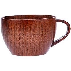 Tazas de espresso de madera, Natural de la mano Craft Jujube Madera Barra de taza tazas con empuñadura para café té leche