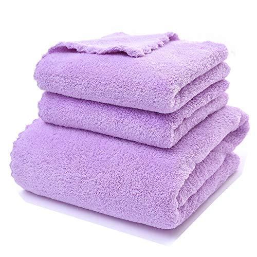 Towel, Korallensamen-Bade-Handtuch Set Glatte absorbierende Mikrofaser-Kinder Erwachsenen Badetuch, Absorbente, Gym, Laufen, Ciclismo, Yoga, Pilates, etc. Handtuch,Purple