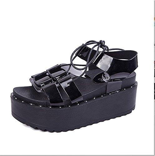 Xing Lin Sandales Pour Dames Nouvelle Mode Sandales Imperméable Épais Tous-Match Furet Femelle Tendance Bas Muffin black
