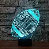 3D Rugby Football Lampe Illusion d'optique Veilleuse 7 couleurs Bureau Décoration de table Lampes cadeau de Noël parfait avec