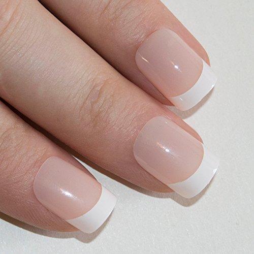 Bling Art False Nails Französisch Maniküre 24 White Manicurette Mittel Tipps UK (Nail Kleber-streifen)