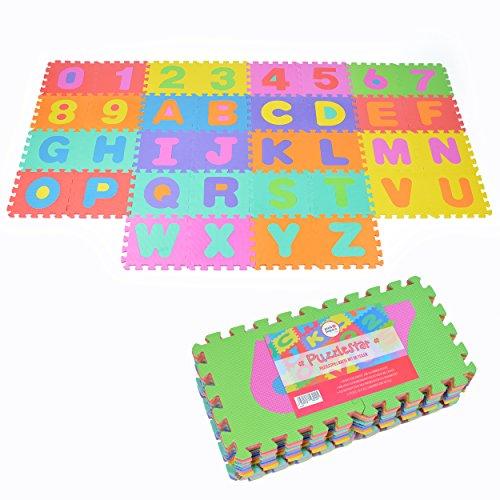 Teiliges Teppich 4 Set (Puzzlestar ABC - 123, 36 tlg. Puzzlematte für Kinder aus rutschfestem EVA, große Spielmatte zusammensteckbar, jedes Teil 30 x 30 x 1 cm, Teppich zum Puzzeln mit Zahlen und Buchstaben)