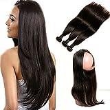 Daimer Lace Frontal 360 Brésilien Hair Tissage Straight Hair 3 Paquets avec Lace Wig Virgin Cheveux Humains Hair en lot pas cher Naturel 14 16 18 +12 360