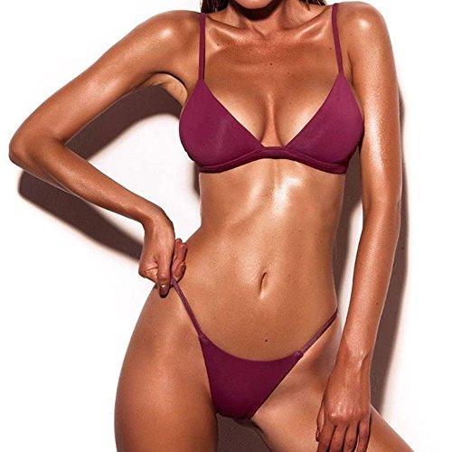 YWLINK Damen Push Up Gepolsterter BH Klassisch Split Bikini Set Bandeau Basis Bikini Tanga Bademode Neckholder Badeanzug(Weinrot,L)