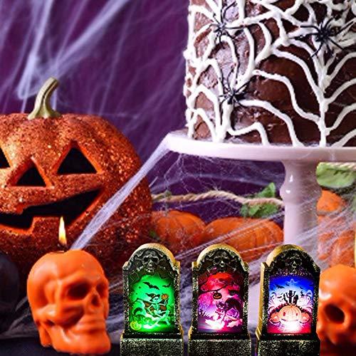 Pegtopone Halloween Beleuchtung Bar Beleuchtung Bar Tischlampe Retro Imitation Grabstein Lichter Halloween Deko Grabsteinform Licht für Bar Party Halloween Deko (Formen Halloween Grabstein)