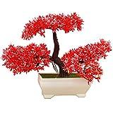 LWBAN-flower Bonsai künstlich, mit Schale, Höhe 20cm - Kunstbonsai Kunstpflanzen Dekopflanzen künstliche Bonsai Bäume, 18