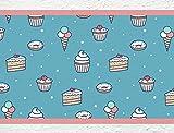 I-love-Wandtattoo Sticker mural B de 10071Cuisine Frise 'Cupcakes et Muffins Frise Cuisine Décoration Murale pâtisseries gâteau glace Donuts, Höhe: 15 cm; Breite: 5 m
