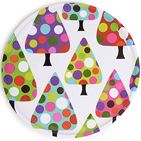 French Bull - Melamine Holiday Cookie Platter - 10-1/2-Inch Serving Tray - Dot Tree by French Bull