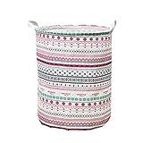 Wanshop 44 * 35cm(42L) Large Sized Waterproof Canvas Laundry Fabric Folding Laundry Hamper Bucket Cylindric Burlap Canvas Storage Basket (B, Multicolor)