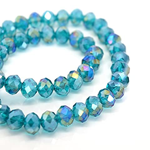 FACETED RONDELLE CRYSTAL GLASS BEADS PICK AB COLOUR & SIZE - BY STAR BEADS (Turquoise AB, 10x8mm