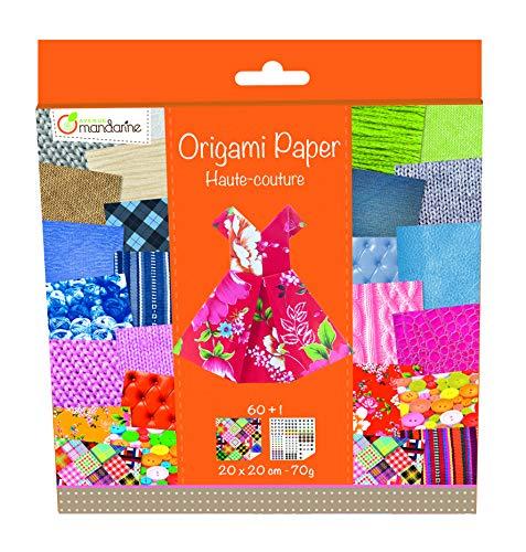 Avenue Mandarine 52502MD Origami color Papier (quadratisch, 20 x 20 cm, mit Faltanleitung, 60 verschiedenen Blätter und 1 Blatt mit Augenset, Haute couture)
