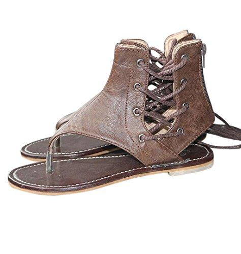 ZEZKT-Schuhe Elegante Frauen Sommer Sandalen Damen Bohemia Sandalen Hausschuhe Klippzehe Flip-Flops Freizeit Absatzschuhe Zehentrenner Schuhe Soft Pantoletten Badepantoletten (35, Braun)