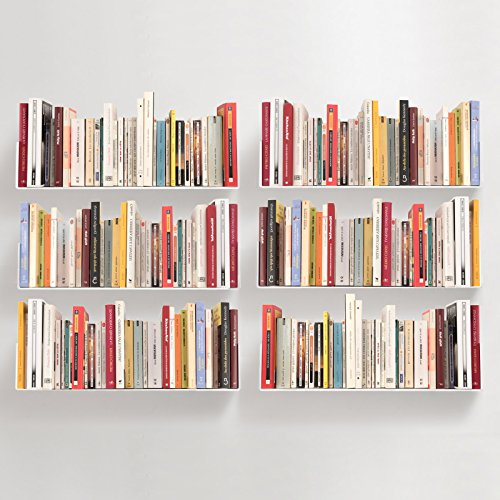 Teebooks - Set mir 6 Wandregale, Stahl, Weiß, 60 x 15 x 15 cm - Wiederherstellung Gel