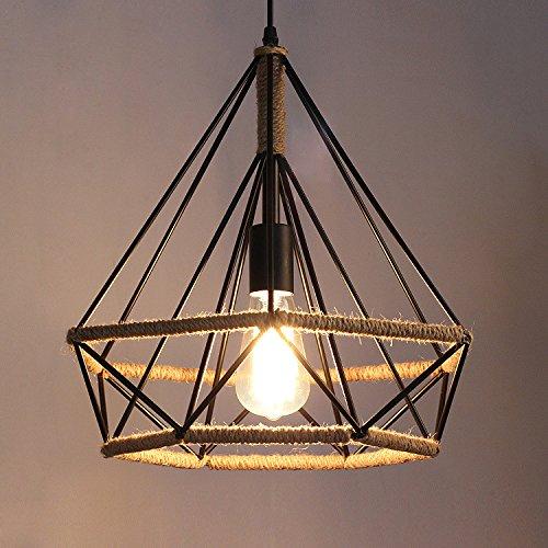 SDKKY Vintage di diamante industriale corda pendente, , il creative corda di ferro birdcage lampadario , diametro 45*43 Illuminazione lampadari