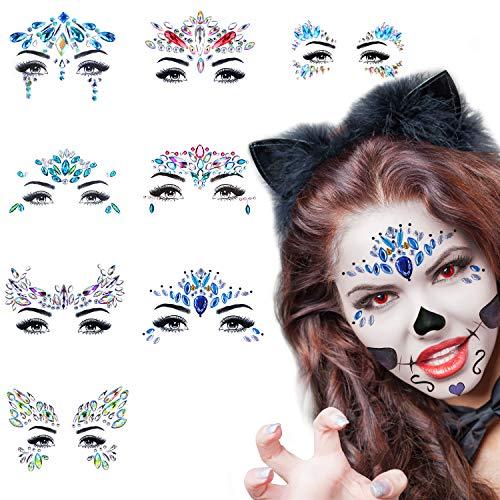 Qhui Glitzer Gesicht Festival Schmuck, 8 Stück Glitzersteine Edelsteine Temporäre Tattoos, Strasssteine Gesichts Steine, Selbstklebend Face Schmucksteine für Make up, Karneval, Party