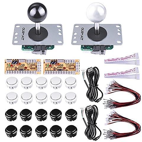 Quimat 2 Joystick Arcade Zéro Délai Kits DIY de Jeu Encodeur USB Bouton Arcade Pour Raspberry Pi 3 2 1 model B PC Game Handle Gamepad Compatible ,Mame Jamma et Jeux de