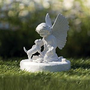 Gedenkstein Hund mit Engel 38418 Maße: ø 12 × 14 cm Farbe: weiß
