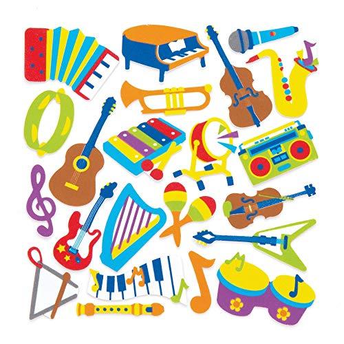 Baker Ross- Pegatinas de espuma con forma de instrumentos musicales (Pack de...