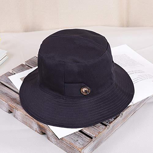 mlpnko Hut weibliche Wilde Sonnenblende literarische Wilde Mütze Hut Reise Fischer Hut Marineblau M (56-58cm) (Indien Kostüm Weiblich)