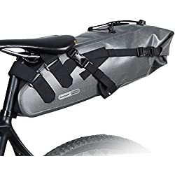 10L Bolsa de Sillín Enrollable de Bicicleta Montaña Bici Mochila Alforja Impermeable Asiento de Ciclismo en Forma de Cuña con Correa Tija o Asiento Tresero Gris