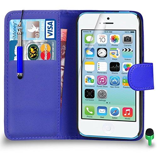 Apple iPhone 5C hülle Prämie Leder BLAU Brieftasche Flip Fall Abdeckung mit Einziehbar touch-Stylus GRÜN Kappe Bildschirmschutz & Poliertuch