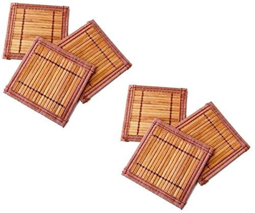 HOKIPO (Set of 6 ) Natural Exotic Bamboo Coasters