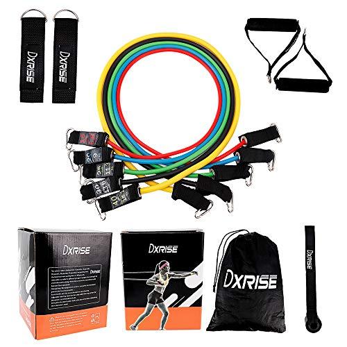 Juego de 11 bandas de resistencia para ejercicio, incluye 5 bandas apilables para ejercicio, anclaje de puerta, asas, correas de tobillo y bolsa de transporte